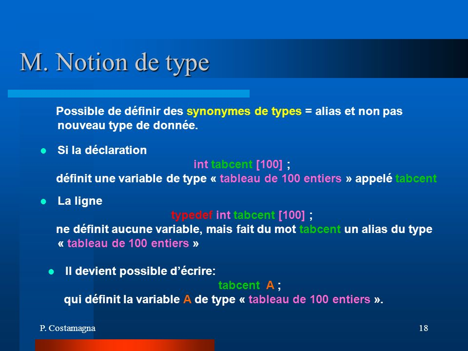 typedef int tabcent [100] ;